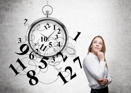 Time management thoughtful businesswoman