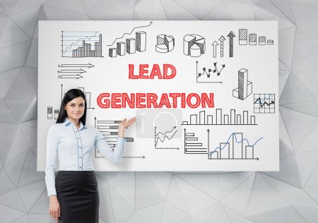 Photo for Lead generation concept with businesswoman presenting business charts on whiteboard - Royalty Free Image