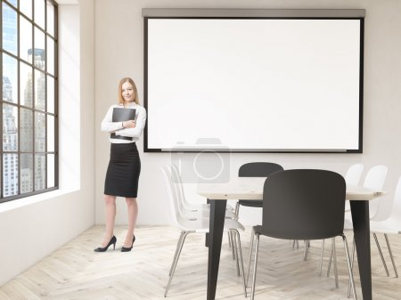 Businesswoman in classroom