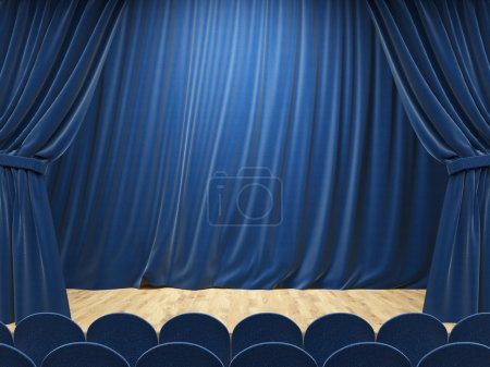 Stage interior with blue curtains and rows of seats. Mock up, 3D Rendering