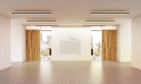 Office entrance interior with blank wall and city view. Mock up, 3D Rendering