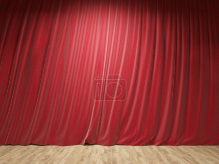 Stage with closed red curtains and wooden floor. Mock up, 3D Rendering