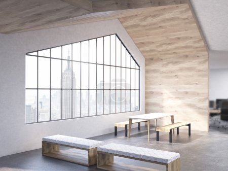 Loft interior with benches