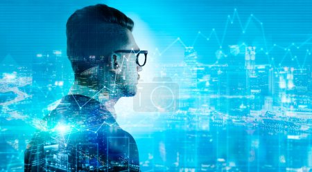 Photo for Side view of stylish businessman in glasses on Sigapore city and business chart background. Double exposure - Royalty Free Image