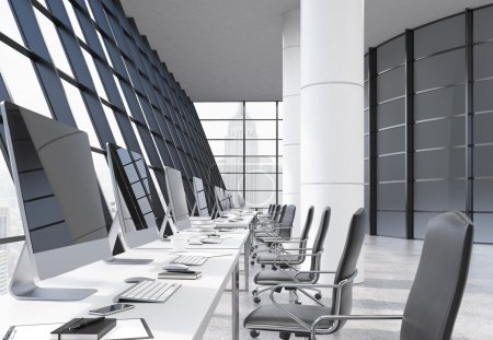 Photo for Coworking office interior with computer monitors on desks, chairs, columns and panoramic windows with New York city view. 3D Rendering - Royalty Free Image