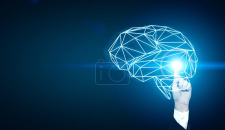 Man drawing polyginal brain