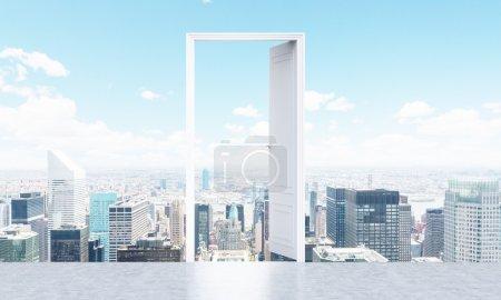 Photo pour Image conceptuelle de la porte ouverte sur fond de ville de New York. Rendu 3D - image libre de droit