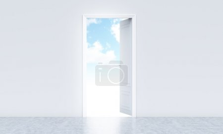 Open door revealing sky view