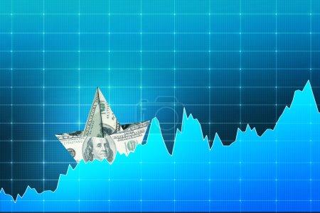 Dollar boat on digital chart