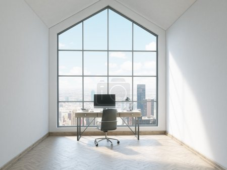 Photo for Front view of minimalistic office interior with wooden floor, concrete walls, triangular ceiling, window with New York city view and workplace with computer. 3D Rendering - Royalty Free Image