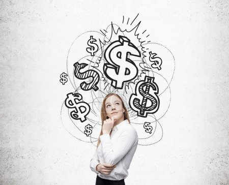 Financial growth concept with businesswoman thinking about dollar signs against concrete wall with sketch