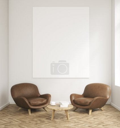 Photo for Room with dark leather armhairs and table. Empty poster on grey wall. Concept of business lounge. 3D render. Mock up. - Royalty Free Image