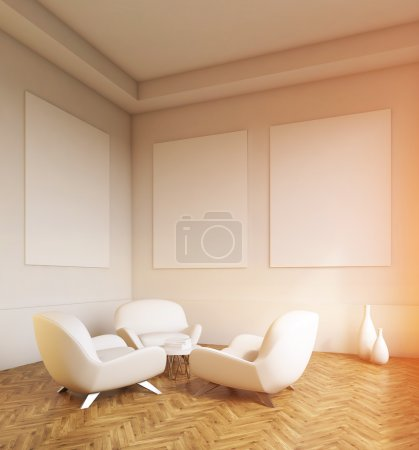 Empty room, wooden floor, sofas and white walls