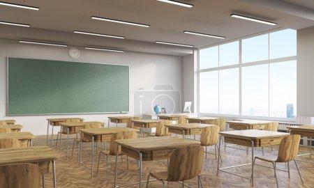 Foto de College classroom interior with wooden furniture. Big window. Back to school. 3d rendering. Mock up. - Imagen libre de derechos
