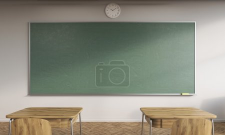 Photo for Classroom interior. Two desks, clock and big green chalkboard. Concept of new school year beginning. 3d rendering. Mock up - Royalty Free Image