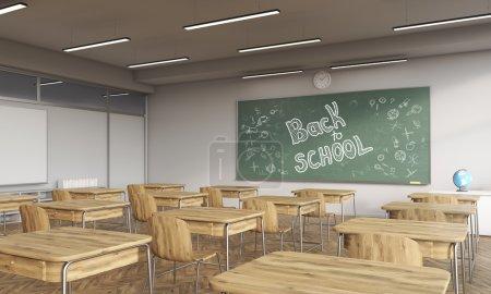 Back to school chalkboard in classroom