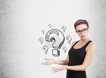Woman and question marks