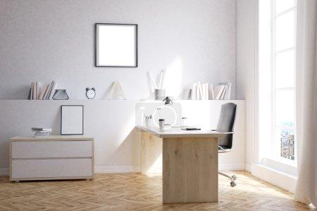 Foto de Moderno apartamento de la ciudad para estudiar y trabajar en casa. Concepto de casa acogedora. Renderizado 3d. Mock up - Imagen libre de derechos