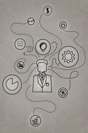 Photo pour Schéma de médias sociaux dessin sur mur de béton - image libre de droit