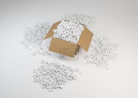 Photo pour Boîte remplie de lettres blanches, gros plan - image libre de droit