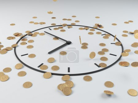 Photo for Coins scattered and drawing clock on floor - Royalty Free Image