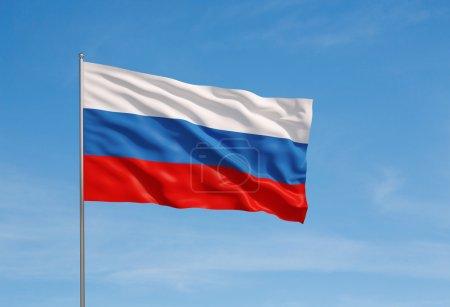 Photo pour Agitant le drapeau de la Russie sur un fond de ciel - image libre de droit