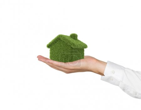 Photo for Hand holding green grass house on white background - Royalty Free Image