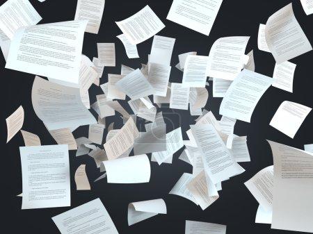 Photo pour Documents fiscaux tombant sur un fond noir - image libre de droit
