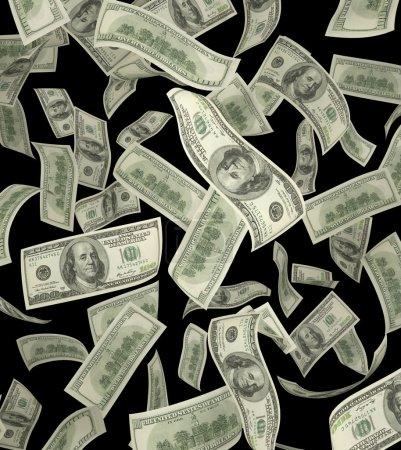 falling dollar banknote