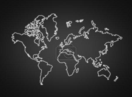 Photo pour Contour blanc de l'isolement de la planète sur fond noir - image libre de droit