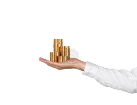 hand handing gold coins