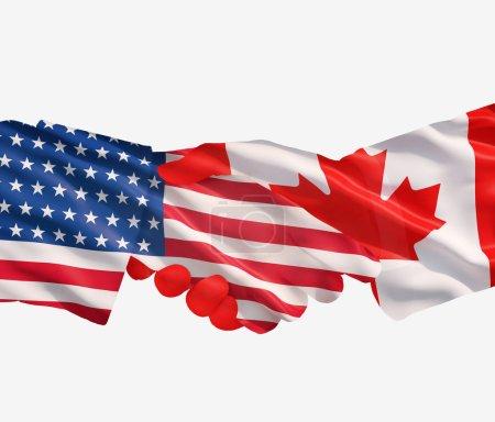 Photo pour Serrent la main des représentants des Etats-Unis et du canada - image libre de droit