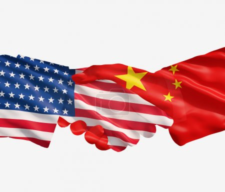 Photo pour China and US flags with a handshake on a white background - image libre de droit