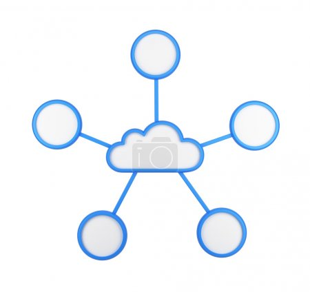 The icon of cloud and supplementary empty boxes. Isolated.