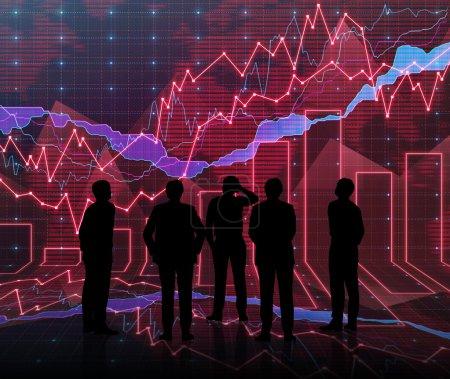 Photo pour Une salle de graphique Forex abstraite en rouge avec siluet personnes - image libre de droit