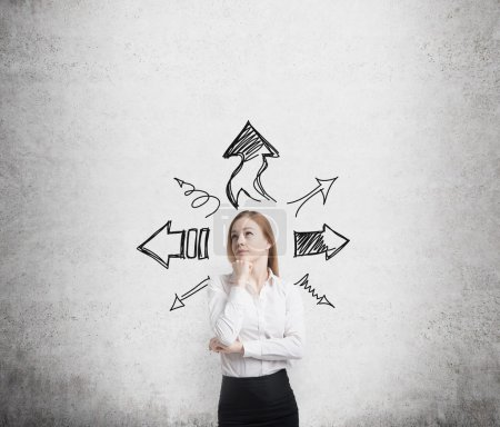 Business woman is standing surrounded by arrows