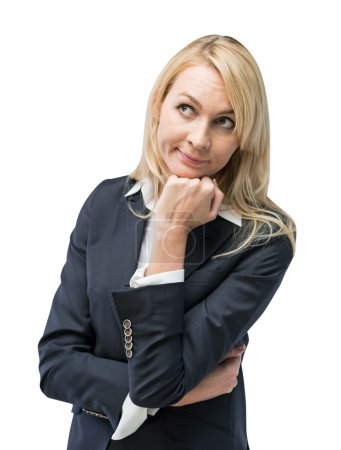 Beautiful blonde business woman is thinking about business ideas. Isolated on white background.