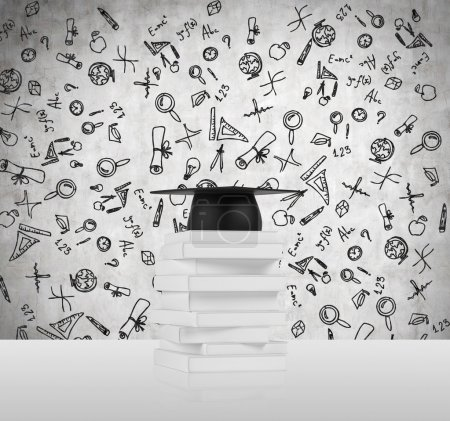 Several books and a graduation hat. A concept of the getting the degree. Educational icons are drawn over the concrete background.