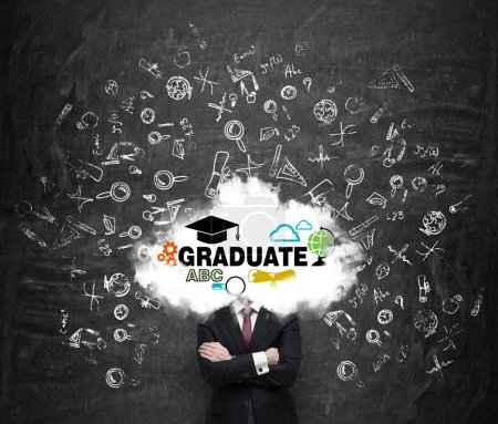 A student is pondering over the graduation process in the university. Cloud with the educational icons instead of the student's head.