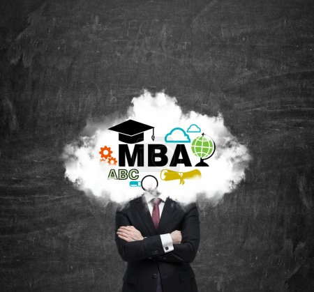 An investment banker is pondering over the master's degree in business administration. Cloud with the educational icons instead of the manager's head.