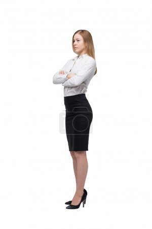 Full length beautiful woman in formal clothes. Isolated.