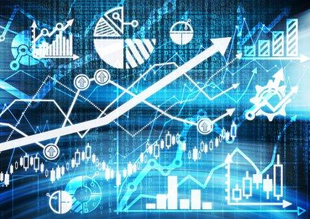 digitale Skizze der verschiedenen Finanzkarten, Diagramme und Berechnungen. ein Konzept für Kapitalmarkttransaktionen und Devisenhandel.