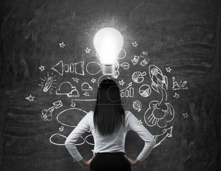 Photo for Rear view of the brunette business lady who is looking for new business ideas. Drawn business icons on the black chalk board and a light bulb as a concept of new idea. - Royalty Free Image
