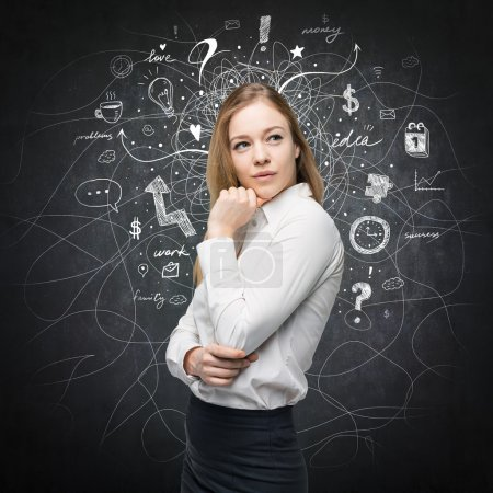 A portrait of a beautiful lady with questioning expression who is looking the best solution for the business problem. Chalk Business icons are drawn over the black chalkboard.