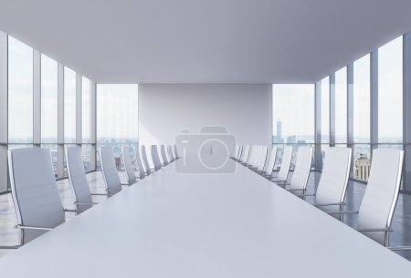 Panoramic conference room in modern office in New York City. White chairs and a white table. 3D rendering.