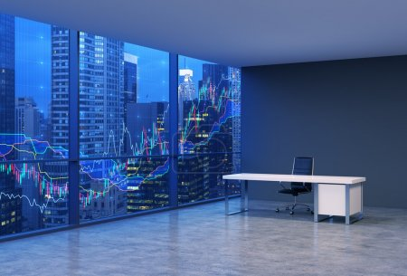 A workplace in a modern corner panoramic office with New York evening view and forex chart. A black leather chair and a white table. A concept of financial consulting services. 3D rendering.