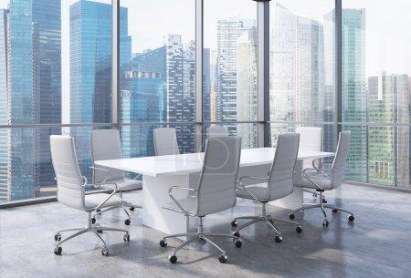 Photo pour Intérieur de bureau moderne avec d'immenses fenêtres et vue panoramique de Singapour. Cuir blanc sur les chaises et une table blanche. Un concept de chef de la direction du milieu de travail. rendu 3D - image libre de droit