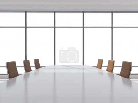 Panoramic conference room in modern office, copy space view from the windows. Brown leather chairs and a table. 3D rendering.