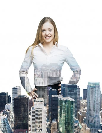 Close up of the transparent business woman and New York panoramic view. Isolated on white background.