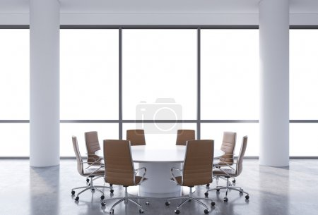 Panoramic conference room in modern office, copy space view from the windows. Brown chairs and a white round table. 3D rendering.